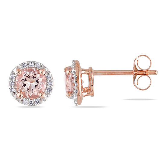 Diamond Accent Pink Morganite 10K Rose Gold Round Ear Pins