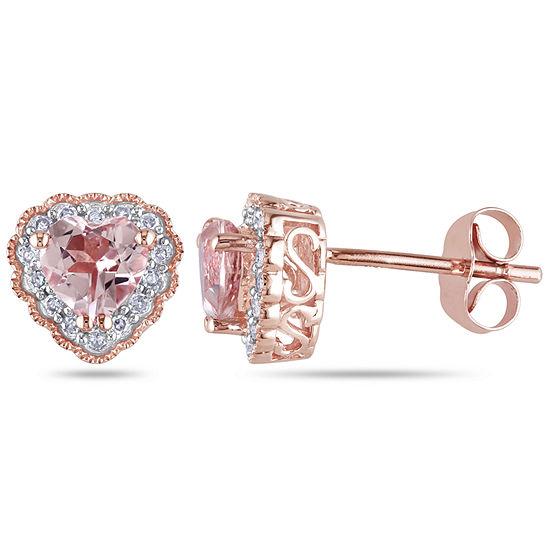 1/10 CT. T.W. Pink Morganite 10K Rose Gold Heart Ear Pins