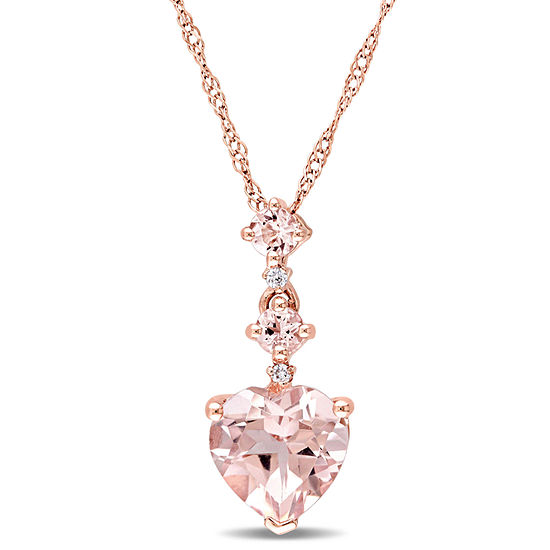 Womens Diamond Accent Pink Morganite 14k Rose Gold Heart Pendant