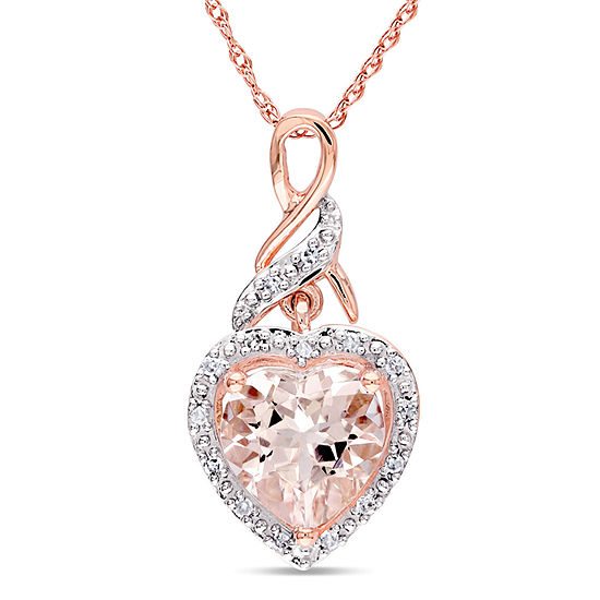Womens Diamond Accent Pink Morganite 10K Rose Gold Heart Pendant