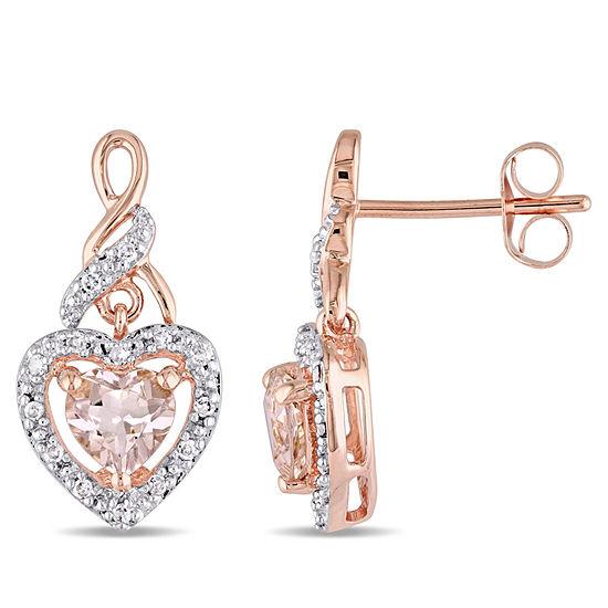 1/8 CT. T.W. Pink Morganite 10K Rose Gold Heart Ear Pins