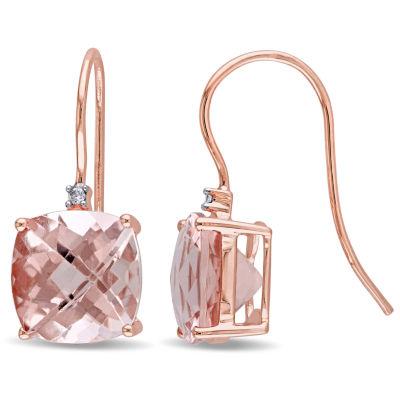 Diamond Accent Pink Morganite 14K Rose Gold Drop Earrings