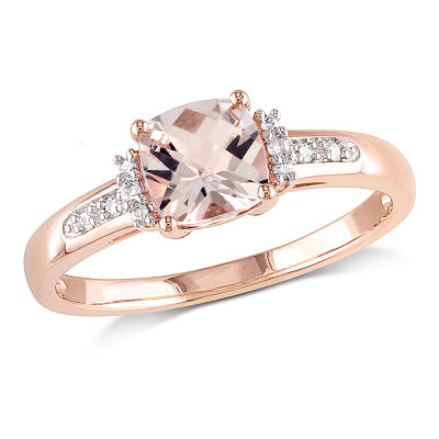 Womens Diamond Accent Pink Morganite 10K Rose Gold Cocktail Ring
