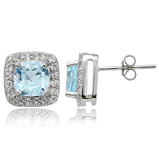 Genuine Blue Topaz Sterling Silver 9mm Stud Earrings
