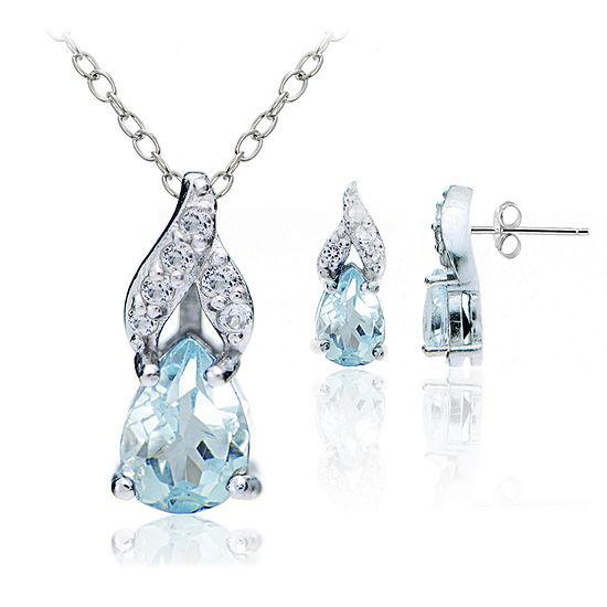Genuine Blue Topaz Sterling Silver Pear 2-pc. Jewelry Set