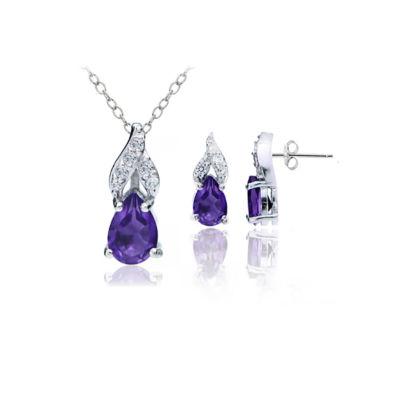 Genuine Purple Amethyst Sterling Silver Pear 2-pc. Jewelry Set