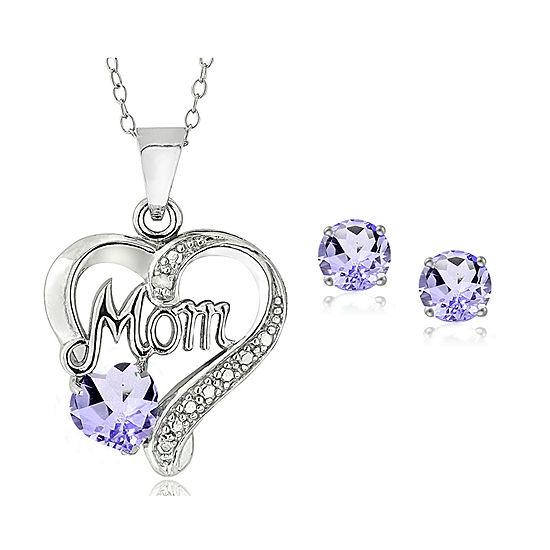 """""""Mom"""" Genuine Purple Amethyst Sterling Silver Heart 2-pc. Jewelry Set"""