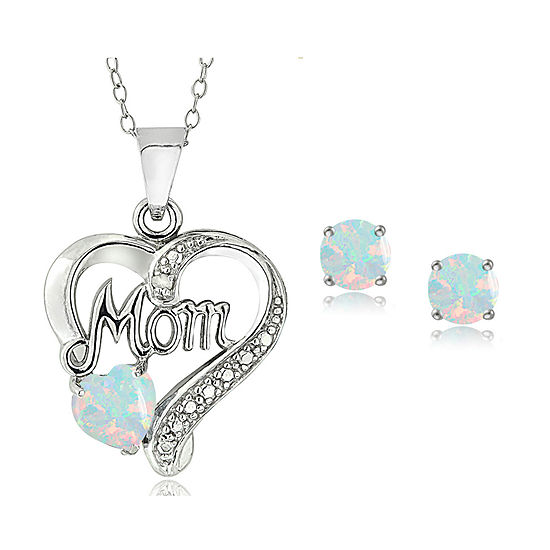 """""""Mom"""" Lab Created White Opal Sterling Silver Heart 2-pc. Jewelry Set"""