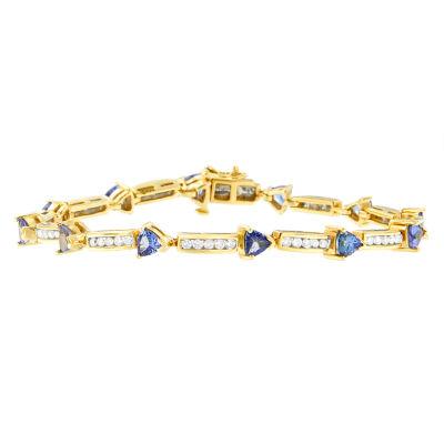 1 1/10 CT. T.W.  Blue Tanzanite 14K Gold Round 7 Inch Tennis Bracelet