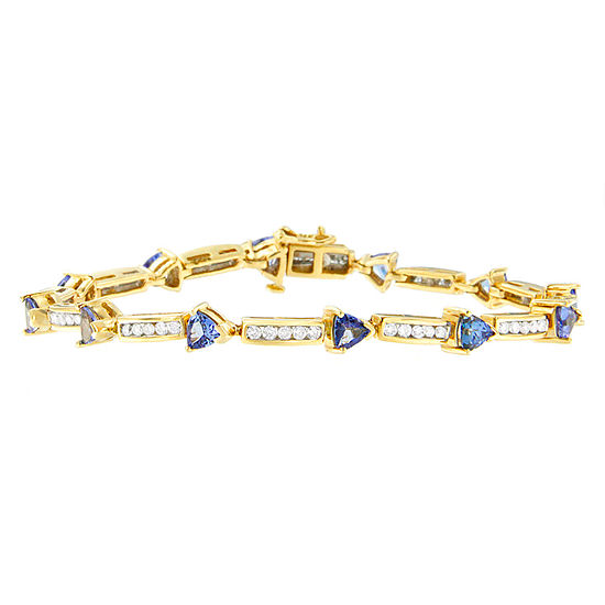 1 1 10 Ct Tw Genuine Blue Tanzanite 14k Gold Round 7 Inch Tennis Bracelet