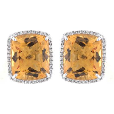 3/8 CT. T.W. Orange Citrine 18K White Gold 15mm Round Stud Earrings