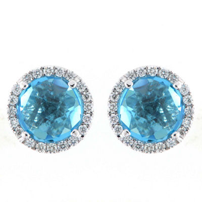 1/5 CT. T.W. Blue Topaz 18K White Gold 15mm Round Stud Earrings