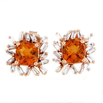 1/3 CT. T.W. Orange Amethyst 18K Rose Gold 15mm Stud Earrings