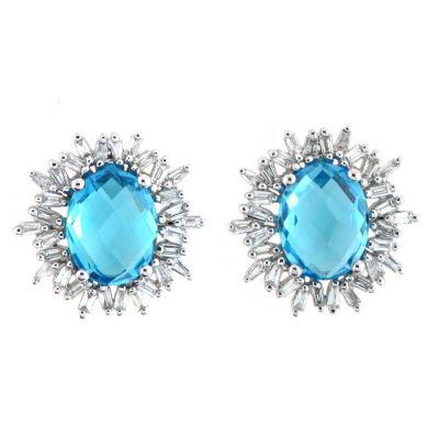 1/2 CT. T.W. Blue Topaz 18K White Gold 15mm Stud Earrings