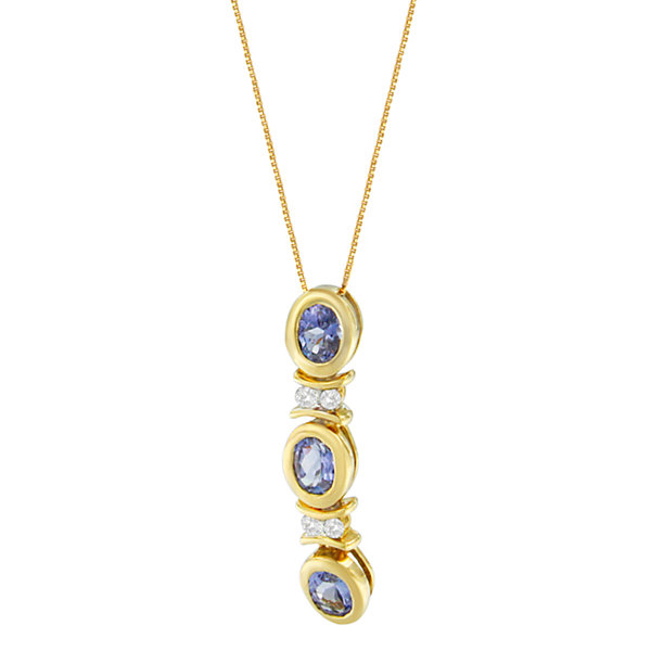 Womens Diamond Accent Blue Tanzanite 14K Gold Pendant Necklace