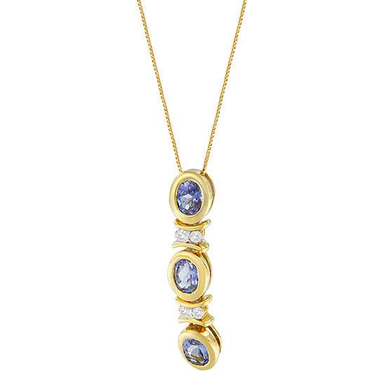 Womens Diamond Accent Genuine Blue Tanzanite 14K White Gold Round Pendant Necklace
