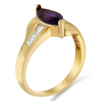 Womens 1/4 CT. T.W. Color Enhanced Purple Amethyst 10K Gold Cocktail Ring