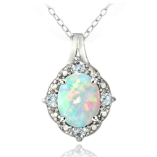 Womens Lab Created White Opal Sterling Silver Oval Pendant Necklace