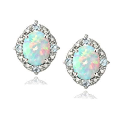 White Opal Sterling Silver 8mm Oval Stud Earrings