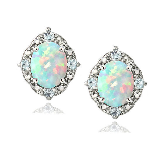 Lab Created White Opal Sterling Silver 8mm Oval Stud Earrings