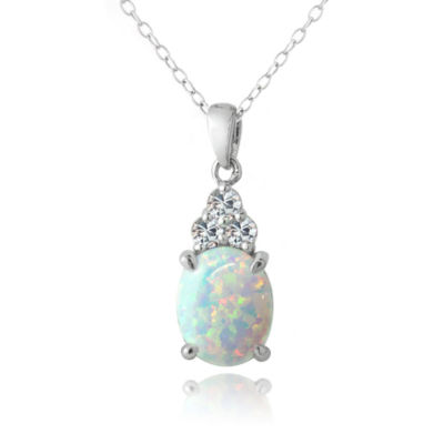 Womens White Opal Sterling Silver Oval Pendant Necklace