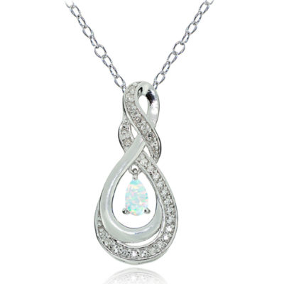 Womens White Opal Sterling Silver Pear Pendant Necklace