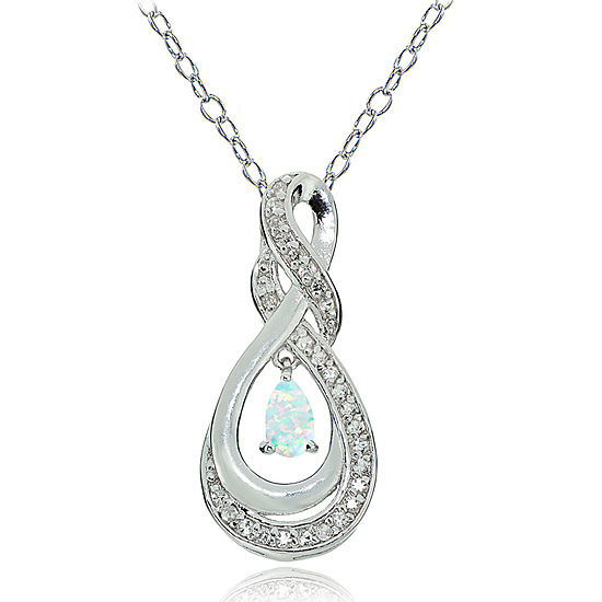 Womens Lab Created White Opal Sterling Silver Pear Pendant Necklace