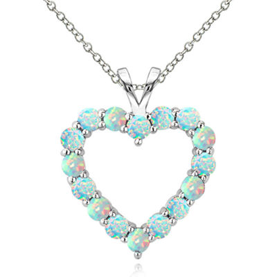 Womens White Opal Round Pendant Necklace