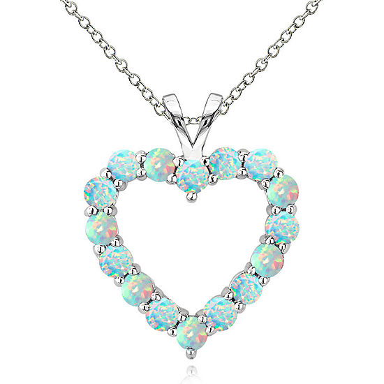 Womens Lab Created White Opal Sterling Silver Round Pendant Necklace