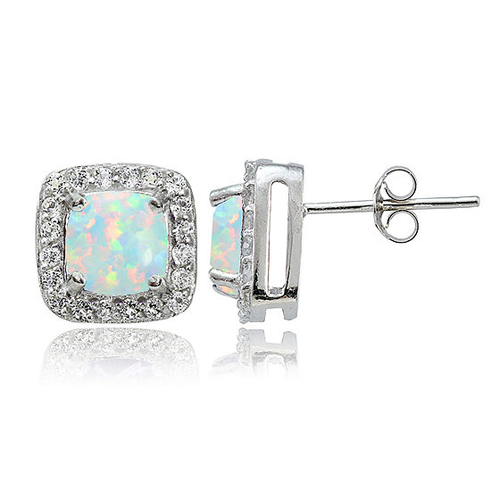 Lab Created White Opal Sterling Silver 6mm Stud Earrings
