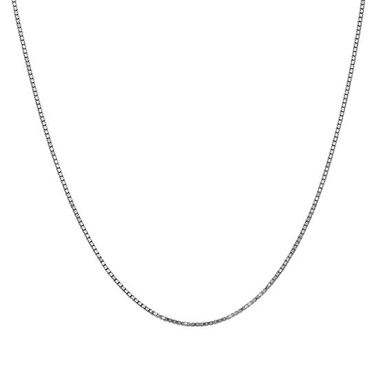 10K White Gold 20 Inch Solid Box Chain Necklace