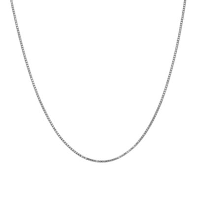 10K White Gold 30 Inch Solid Box Chain Necklace