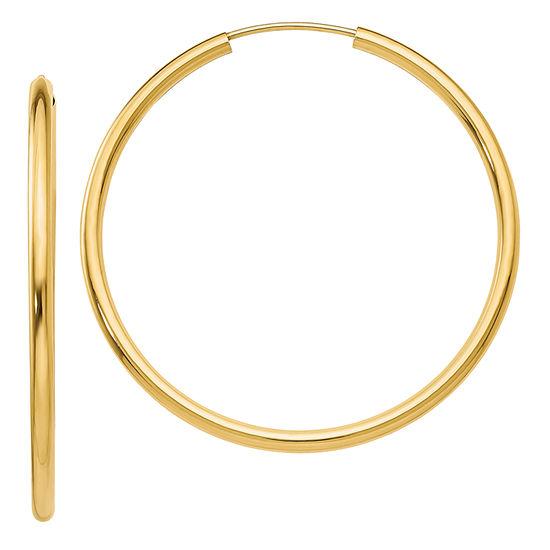 14K Gold 33mm Round Hoop Earrings