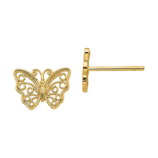 14K Gold 7mm Butterfly Stud Earrings
