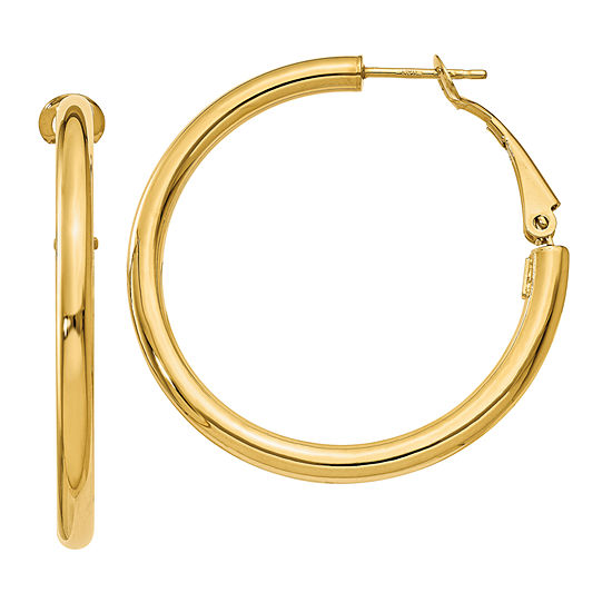Made In Italy 14k Gold 32mm Round Hoop Earrings