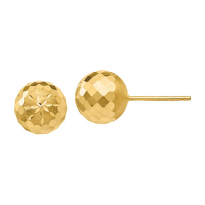 14K Gold 9mm Round Stud Earrings