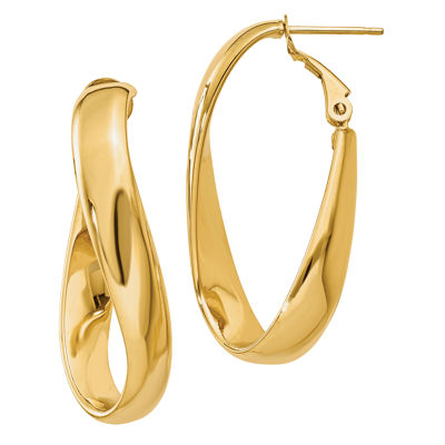 Made In Italy 14K Gold 14mm Oval Hoop Earrings