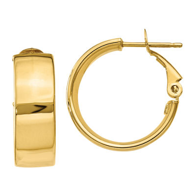 Made In Italy 14K Gold 15mm Round Hoop Earrings