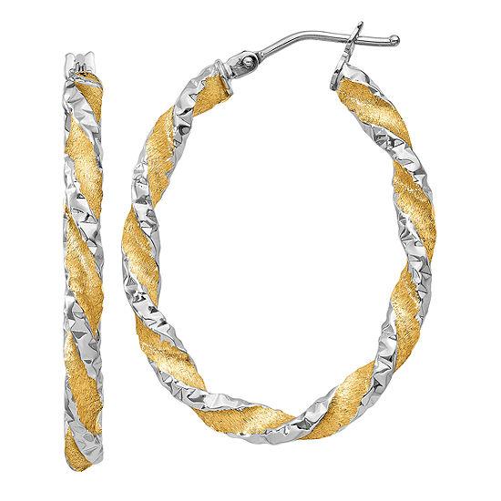 Made in Italy 14K Gold 19mm Oval Hoop Earrings