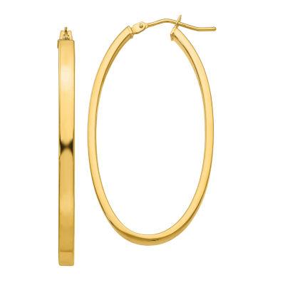 Made In Italy 14K Gold 21mm Oval Hoop Earrings