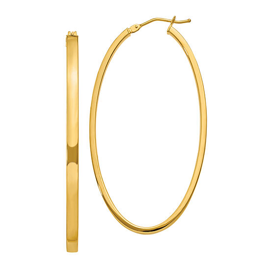 Made In Italy 14k Gold 55mm Oval Hoop Earrings