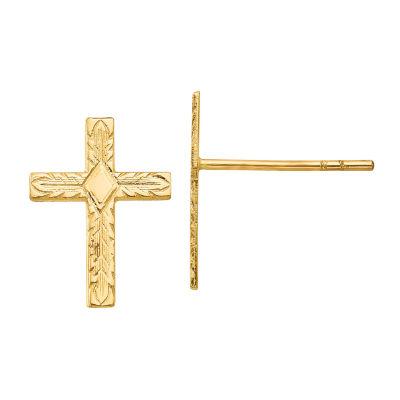 14K Gold 13mm Cross Stud Earrings