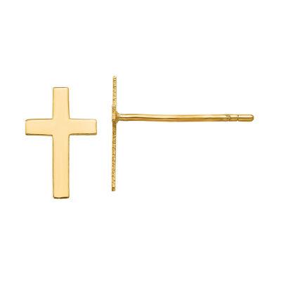 14K Gold 10mm Cross Stud Earrings