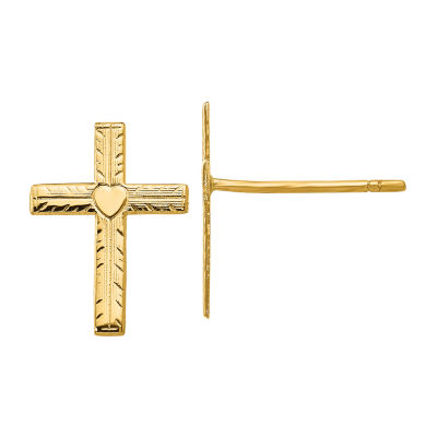 14K Gold 13mm Cross Stud Earrings