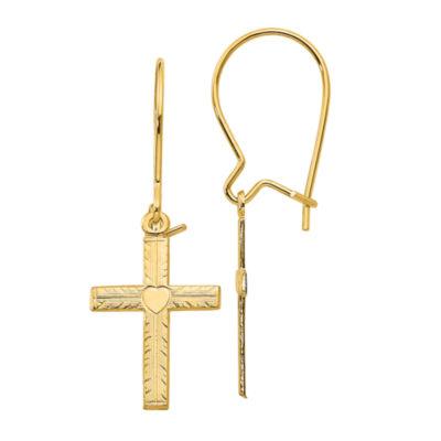 14K Gold Cross Drop Earrings