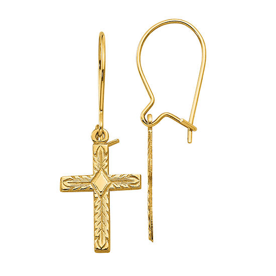 14K Gold Cross Drop Earrings
