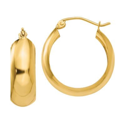 14K Gold 14mm Round Hoop Earrings