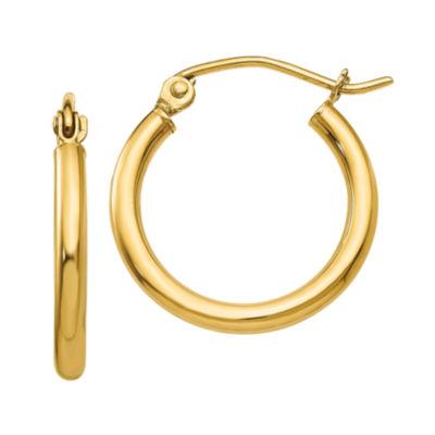14K Gold 17mm Round Hoop Earrings