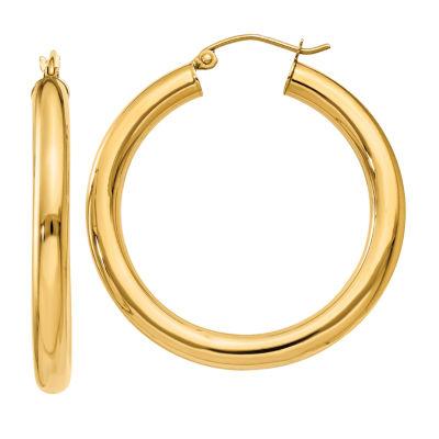 14K Gold 35mm Round Hoop Earrings