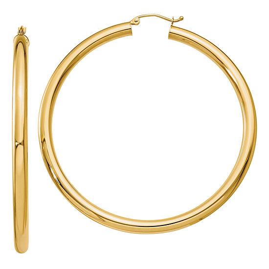 14K Gold 60mm Round Hoop Earrings